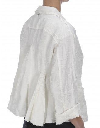 REGENT: Giacca in lino broccato, crema