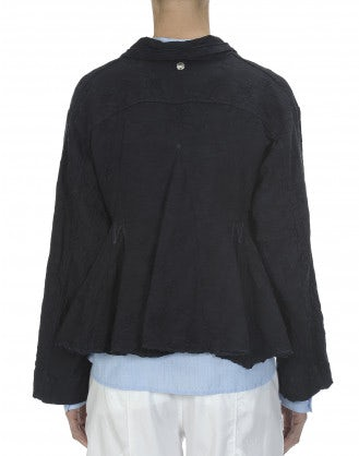 REGENT: Giacca in lino broccato, blu navy
