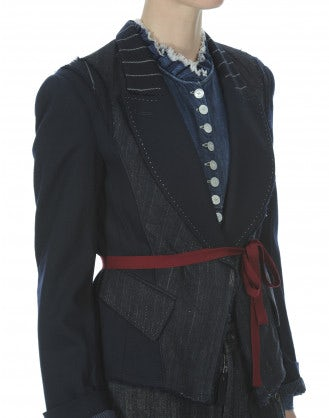 DEBONHAIR: Pinstripe short overlap jacket