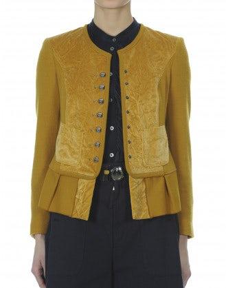 GLAD: Giacca girocollo in lana e velluto color senape