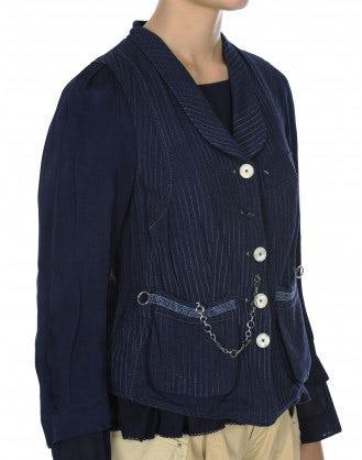PANACHE: Giacca in cotone e cupro con collo a scialle