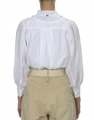 GLADDEN: Camicia bianca con ricami e orlo ampio