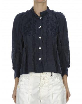 GLADDEN: Camicia blu navy con ricami e orlo ampio