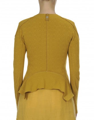 GREET: Yellow ochre collarless knit jersey jacket