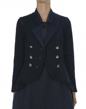 CADENZA: Navy multi panel short peplum jacket