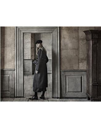 NARRATE: Cappotto in cashmere blu notte e nero