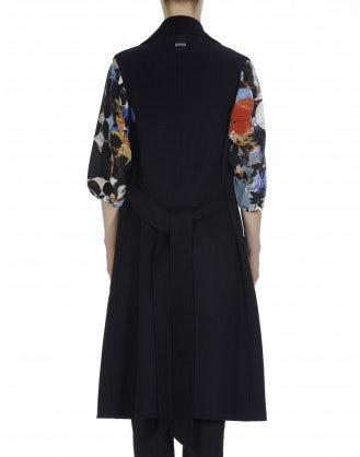 EMULATE: Cappotto senza maniche in cashmere blu notte e nero
