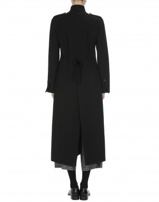 BEWILDER: Stand collar long coat in black wool