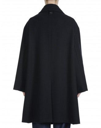 WUTHERING: Bluson oversize in lana blu navy