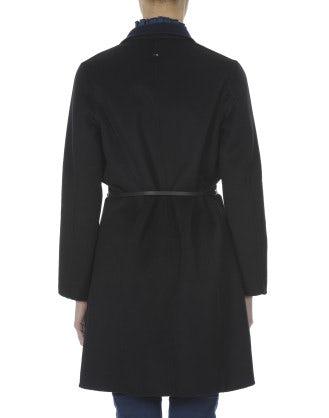 MELODRAMA: Cappotto corto reversibile nero e blu navy