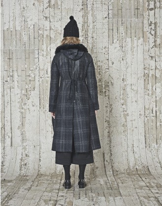 GRANDEUR: Winter checks wool leather splash parka