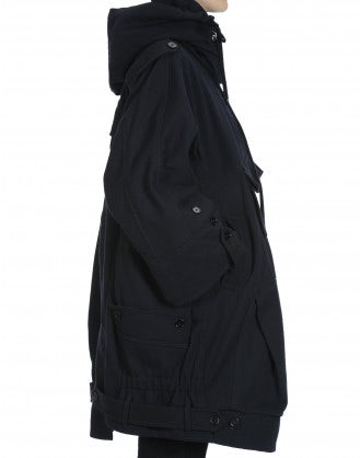 QUIRKY: Parka blu navy con tasche multiple in misto lana