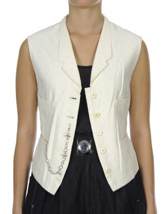 REPORT: Gilet in cotone color crema