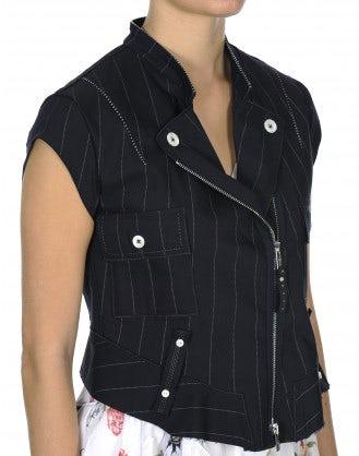 ROWDY: Gilet gessato blu navy con zip frontale