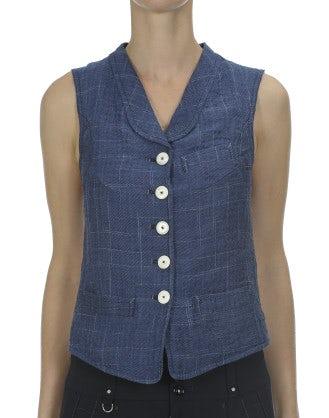 POSH: Blue ghost check rinse linen waistcoat