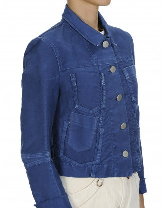 "PARITY: Navy twill raw edge ""jeans"" jacket"
