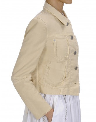 "PARITY: Cream twill raw edge ""jeans"" jacket"