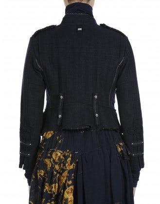 "REVENGE: Biker"" style jacket in navy herringbone wool blend"