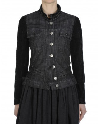 FRONTIER: Black striped denim jacket with flock sleeves
