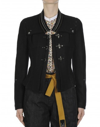 TIP-OFF: Black wool jacket with embroidered velvet collar