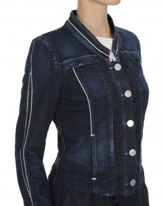 ASPIRE: Dark denim stand collar jacket