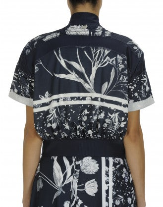 "NURTURE: Blue white floral ""baseball"" jacket"