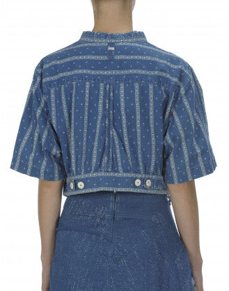 DAZE: Giacca corta in denim con mix di stampe