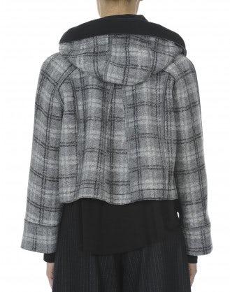 SOLANO: Cappotto corto con cappuccio in tartan grigio