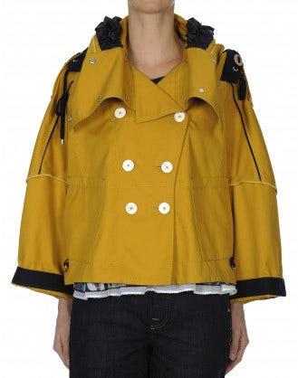 BLUSTER: Fisherman's yellow hooded short jacket