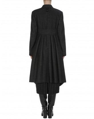 LAWLESS: Overcoat in grey herringbone and pinstripe