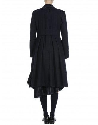 LAWLESS: Overcoat in navy herringbone and pinstripe