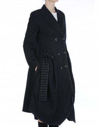 LAWLESS: Cappotto gessato e spigato navy