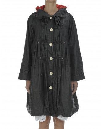 WINDLASS: Waxed washed linen overcoat with hood