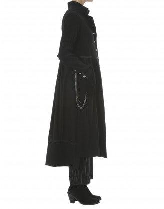 BOULEVARD: Cappotto nero in lana pettinata