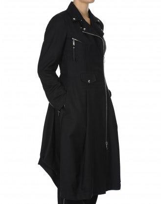 NOBLESSE: Cappotto nero con zip frontale