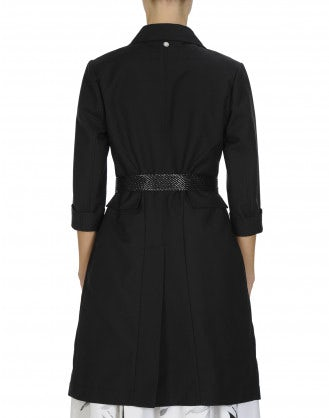 ENLIGHTEN: Black cotton Princess line coat