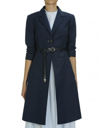 ENLIGHTEN: Navy blue cotton Princess line coat