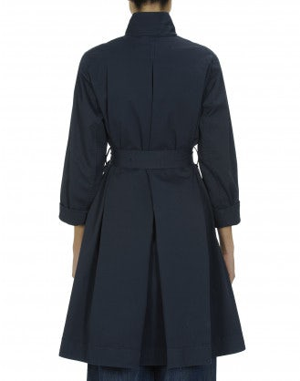 DAUNT: Navy cotton drill a-line coat