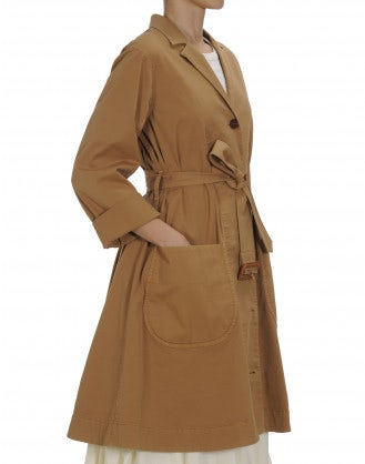 DAUNT: Tan cotton drill A-line coat