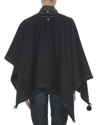 CAPPELLA: Cappa - poncho in lana blu navy