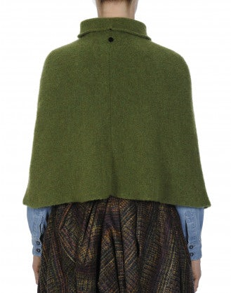 HOTSPOT: Poncho morbido a collo alto color verde muschio