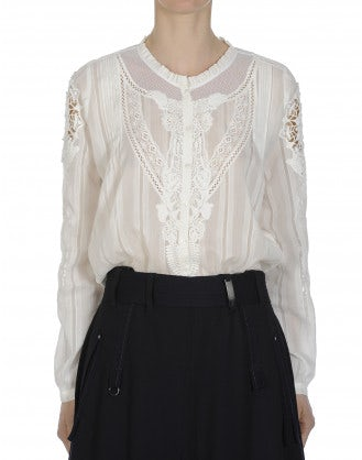 CADENCE: Round neck shirt in cream cotton and silk and ribbon lace