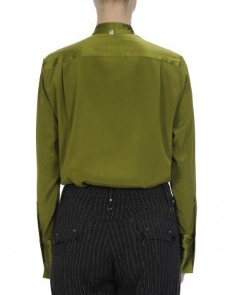 IDYLL: Long sleeve shirt with soft tie neck in sage green silk