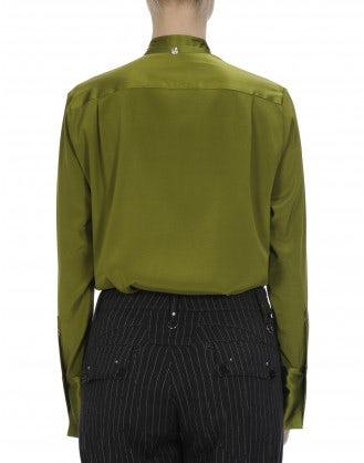 IDYLL: Camicia a maniche lunghe in raso di seta verde salvia