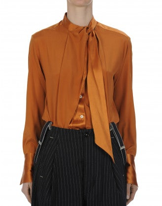 IDYLL: Camicia a maniche lunghe in raso di seta arancione