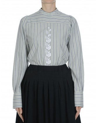 REALIZE: Button back stripe shirt with low stand collar