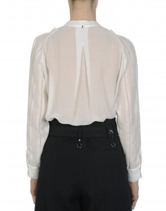 TIMID: Ruffle front shirt in cream plain and self stripe