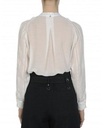 TIMID: Camicia color crema con balza frontale