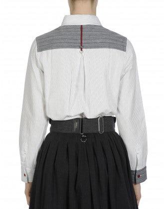 GENTEEL: Black and white ticking and grey stripe shirt