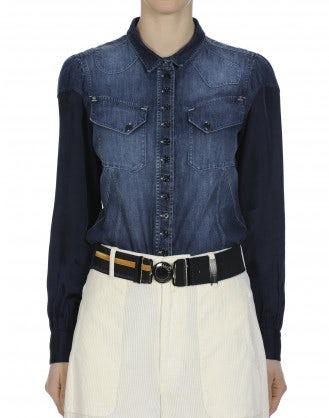 WISDOM: Dark chambray cotton and cupro shirt